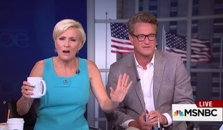 "MSNBC's ""Morning Joe"" panel on Friday ribbed Hillary Rodham Clinton for the orange outfit she wore during her events this week in Nevada, comparing her to a jail inmate or Chinese Communist. (MSNBC via YouTube)"