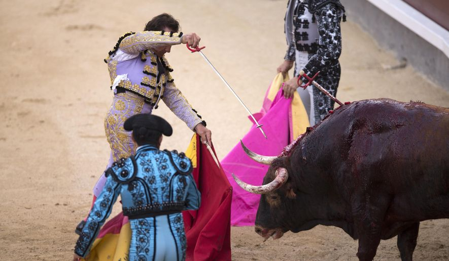 "In this Saturday, Aug. 15, 2015 photo, Spanish bullfighter Carlos Escolar ""Frascuelo"" kills a Santiago Domecq's ranch fighting bull during a Spanish traditional bullfight at Las Ventas bullring in Madrid, Spain. (AP Photo/Francisco Seco)"