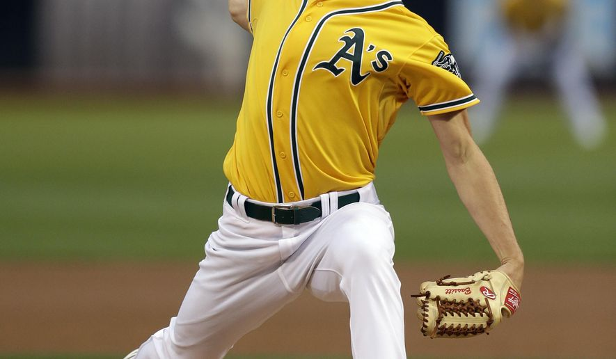 Oakland Athletics pitcher Chris Bassitt throws to a Tampa Bay Rays batter during the first inning of a baseball game Friday, Aug. 21, 2015, in Oakland, Calif. (AP Photo/Ben Margot)