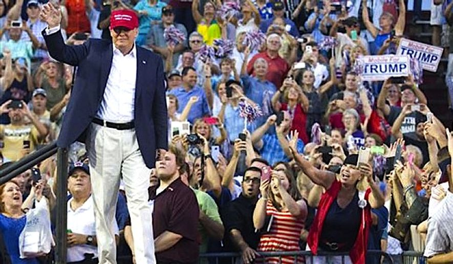 Donald Trump arrives for a massive rally in Mobile, Alabama (AP Photo) **FILE**