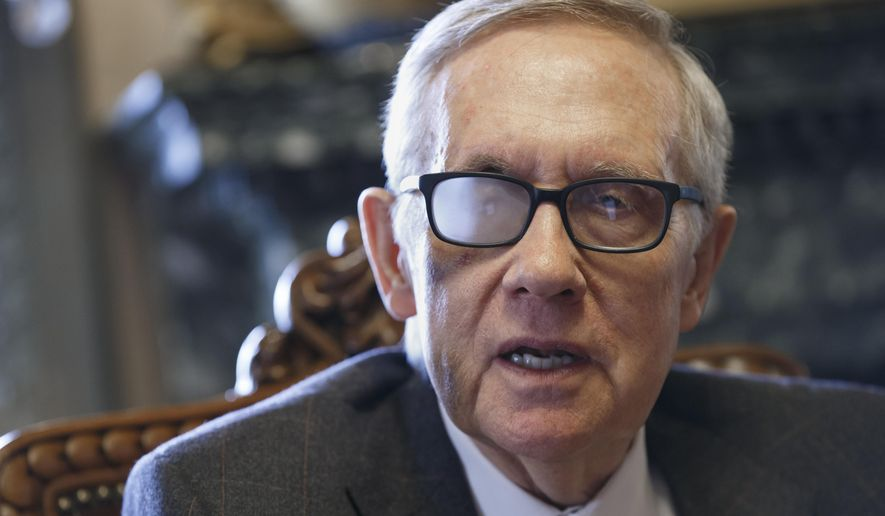 Senate Minority Leader Harry Reid, D-Nev., talks about his future and the agenda of the Democrats who are now in the minority, during an interview in Washington, in this March 4, 2015, file photo. Reid said in a news release on Sunday, Aug. 23, 2015, that he's throwing his full support behind President Barack Obama's nuclear agreement with Iran. (AP Photo/J. Scott Applewhite, File)