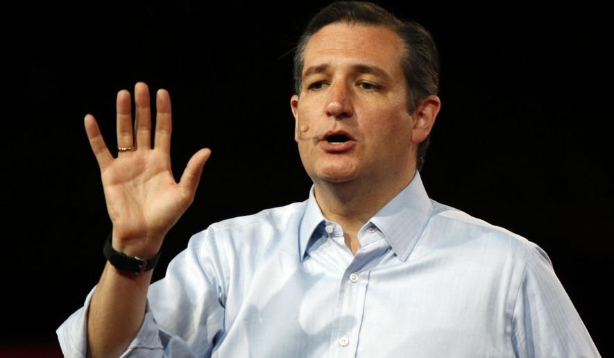 Sen. Ted Cruz, Texas Republican and 2016 presidential hopeful, speaks at the Defending the American Dream summit hosted by Americans for Prosperity at the Greater Columbus Convention Center in Columbus, Ohio, on Aug. 22, 2015. (Associated Press) **FILE**