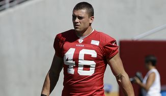 San Francisco 49ers tight end Derek Carrier (46) during the team's NFL football training camp in Santa Clara, Calif., Sunday, Aug. 2, 2015. (AP Photo/Jeff Chiu)