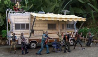 Walkers attack Dale's RV from the latest McFarlane Toys' The Walking Dead Construction Set. (Photograph by Joseph Szadkowski / The Washington Times)
