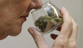 In this Aug. 19, 2015 photo, a customer checks the aroma of a jar of medicinal marijuana at Canna Care, a medical marijuana dispensary in Sacramento, Calif. A pair of bills pending in the California Legislature would create the first statewide regulations for medical marijuana growers, manufacturers of pot-infused products, and distributors such as storefront dispensaries and delivery services. (AP Photo/Rich Pedroncelli)