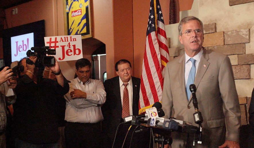"Republican presidential candidate, former Florida Gov. Jeb Bush, called GOP presidential front-runner Donald Trump on Monday ""a serious candidate,"" but said Mr. Trump's immigration plan should be judged on its merits and there it breaks conservative principles. (The Monitor via Associated Press)"