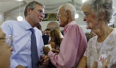 Republican presidential candidate former Florida Gov. Jeb Bush meets voters after a town hall campaign stop, Thursday in Keene, N.H. (Associated Press)