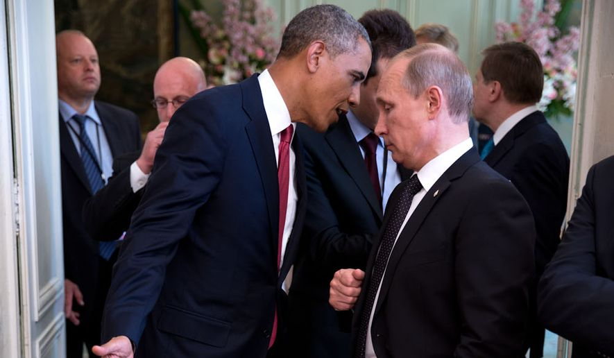 President Obama talks with Russian President Vladimir Putin during a summit in 2014. Credit: Pete Sousa. White House photographer.