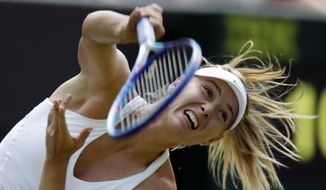 FILE - In this July 1, 2015, file photo, Maria Sharapova, of Russia, serves to Richel Hogenkamp, of the Netherlands, during their singles match at the All England Lawn Tennis Championships in Wimbledon, London. Sharapova will host a sports and entertainment event in December, 2015 at the UCLA Tennis Center in Los Angeles. (AP Photo/Pavel Golovkin, File)