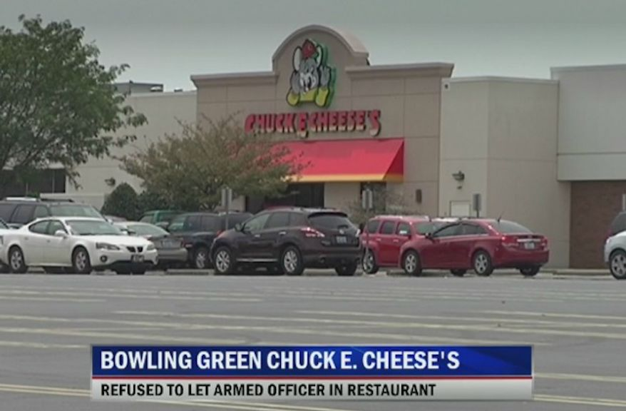 A Chuck E. Cheese in Bowling Green, Kentucky, is facing backlash after an armed police officer was denied entry over her service weapon. (WBKO)