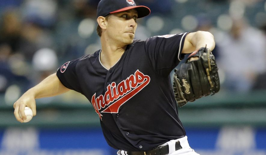 Cleveland Indians starting pitcher Josh Tomlin delivers in the first inning of a baseball game against the Milwaukee Brewers, Tuesday, Aug. 25, 2015, in Cleveland. (AP Photo/Tony Dejak)