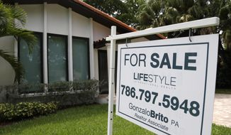 In this Saturday, Aug. 15, 2015 photo, a for sale sign is placed in front of a home in Miami.  A new study by Harvard in partnership with real-estate website Zillow.com found that millennials, contrary to popular belief, actually are inclined to buy homes in suburban markets.  (AP Photo/Lynne Sladky)