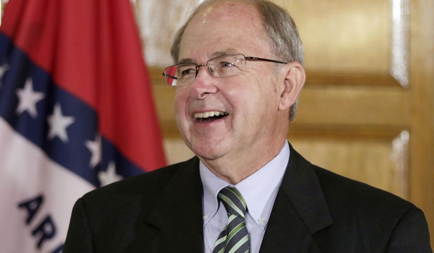 Howard Brill attends a news conference at the Arkansas state Capitol in Little Rock, Ark., Tuesday, Aug. 25, 2015. Brill was appointed by Arkansas Gov. Asa Hutchinson as the next Chief Justice of the Arkansas Supreme Court following the retirement of Jim Hannah. (AP Photo/Danny Johnston)