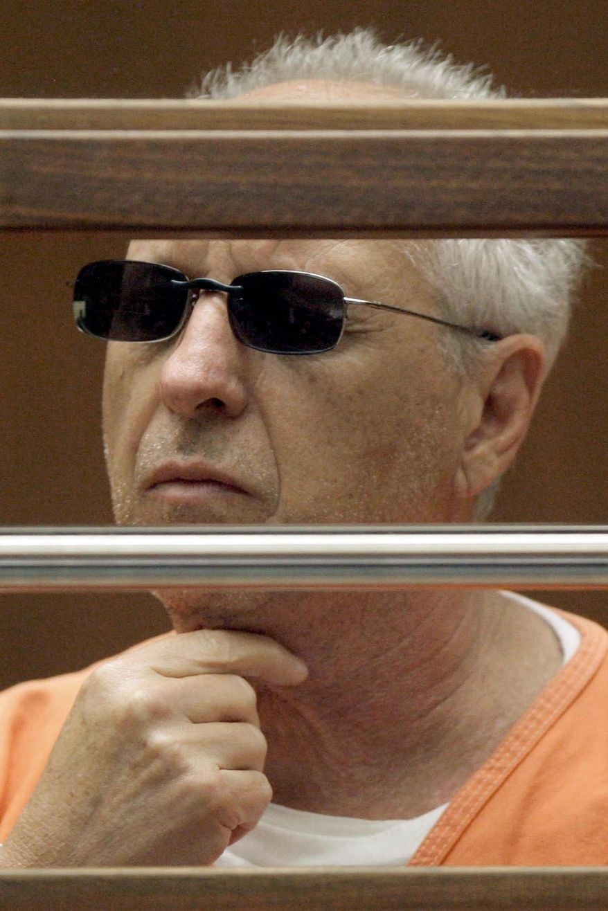 """FILE - In this June 19, 2009 file photo, former Hollywood private eye Anthony Pellicano appears in court in Los Angeles. A racketeering conviction of the private eye who wiretapped phones for rich and famous clients to dig up dirt on rivals, ex-lovers and celebrities was upheld Tuesday, Aug. 25, 2015, by a federal appeals court, though the panel tossed out a few counts against him and co-conspirators. The 9th U.S. Circuit Court of Appeals said Pellicano and his cohorts participated in a """"widespread criminal enterprise"""" that bribed police for confidential information, paid a phone company technician to tap lines and hired a software developer to create the """"Telesleuth"""" program that recorded conversations. (AP Photo/Nick Ut, File)"""