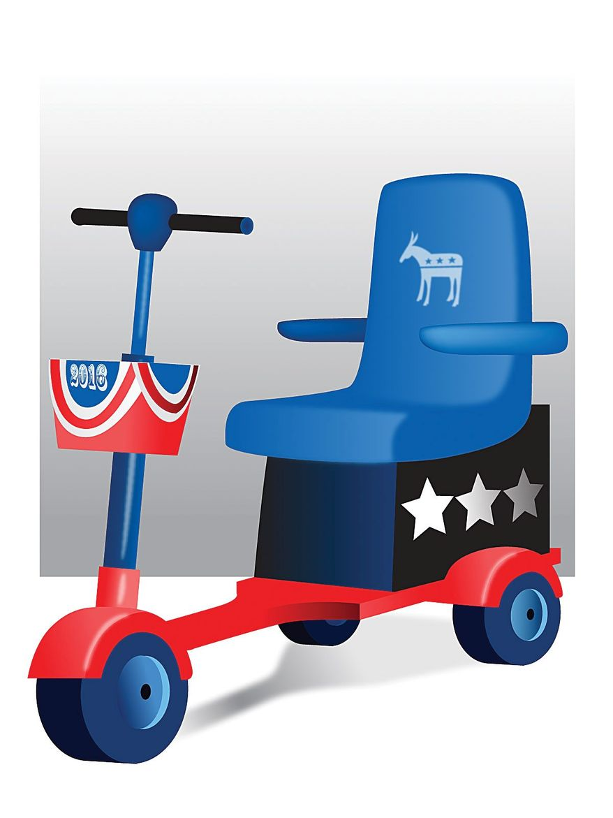 Illustration on the elderly Democratic Party's presidential front runners by Linas Garsys/The Washington Times