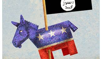 Illustration on Democrats' culpability in the fall of Iraq and the rise of ISIS by Alexander Hunter/The Washington Times