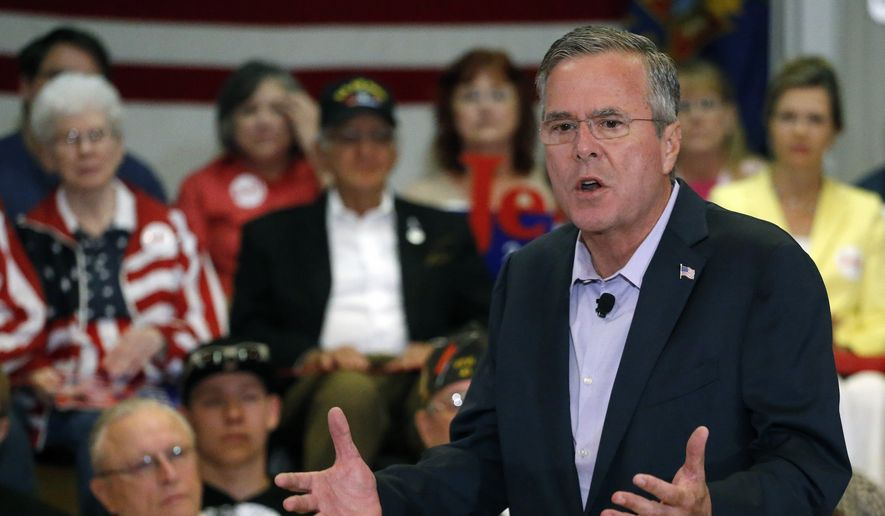 Republican presidential candidate, former Florida Gov. Jeb Bush, speaks during a town-hall-style campaign stop, at the VFW in Englewood, Colo., Tuesday, Aug. 25, 2015. (AP Photo/Brennan Linsley) ** FILE **