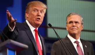 Republican presidential candidates Donald Trump and Jeb Bush participate during the first Republican presidential debate at the Quicken Loans Arena Thursday, Aug. 6, 2015, in Cleveland. (AP Photo/Andrew Harnik) ** FILE **