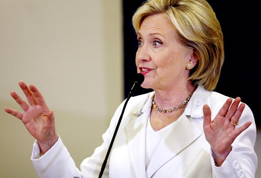Democratic presidential candidate Hillary Rodham Clinton speaks at Morningside College in Sioux City, Iowa, Wednesday, Aug. 26, 2015. (Jim Lee/Sioux City Journal via AP) MANDATORY CREDIT **FILE**