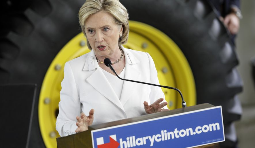 Democratic presidential candidate Hillary Rodham Clinton speaks about rural issues at the Des Moines Area Community College, Wednesday, Aug. 26, 2015, in Ankeny, Iowa. (AP Photo/Charlie Neibergall)