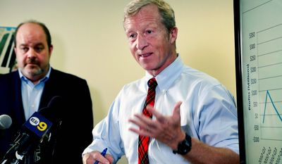 In this Aug. 5, 2015, file photo, billionaire climate activist Tom Steyer, right, speaks during a news conference with consumer advocate Jamie Court, left, president of Consumer Watchdog in Santa Monica, Calif. (AP Photo/Nick Ut, File) ** FILE **