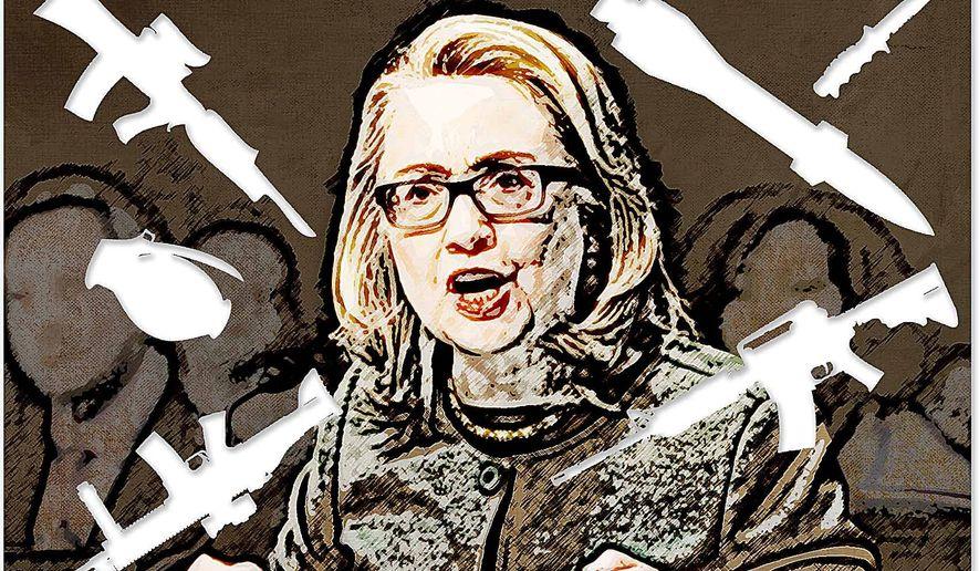 Hillary's War Illustration by Greg Groesch/The Washington Times