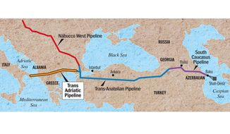 Map of the Trans-Adriatic Pipeline and Southern Corridor