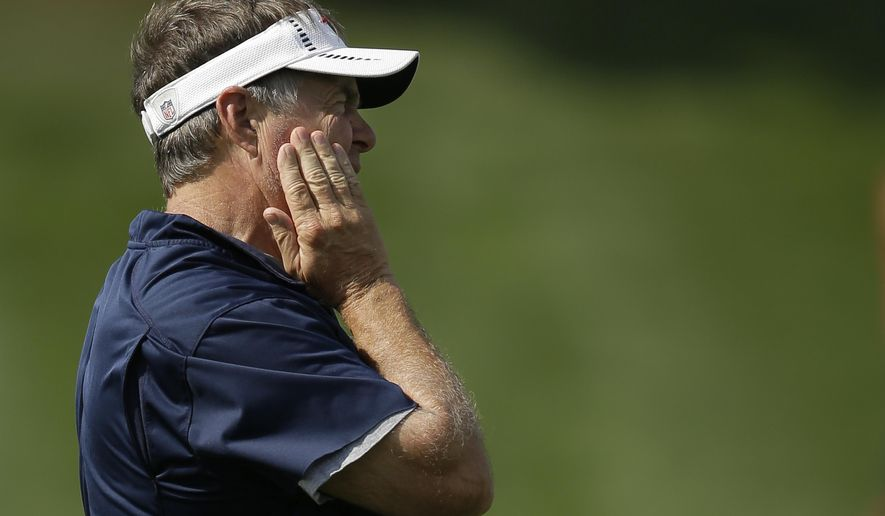 New England Patriots head coach Bill Belichick watches a team scrimmage during an NFL football practice in Foxborough, Mass., Wednesday, Aug. 26, 2015. (AP Photo/Steven Senne)