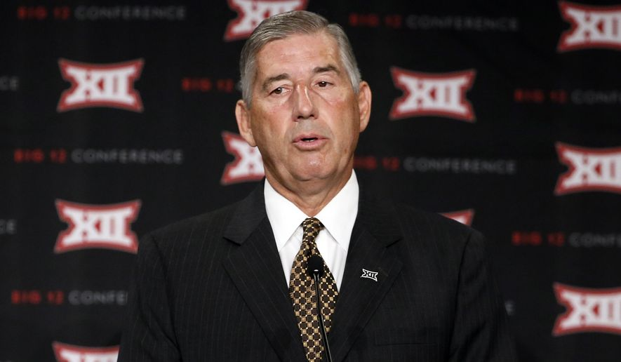 FILE - This July 20, 2015, file photo shows Big 12 commissioner Bob Bowlsby addressing attendees to Big 12 Conference Football Media Days  in Dallas. Bowlsby says he expects the conference to mandate due diligence and include more than just violent acts in a new rule that will (AP Photo/Tony Gutierrez, File)