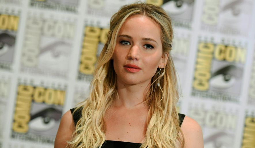 """Jennifer Lawrence attends """"The Hunger Games: Mockingjay Part 2"""" press line on day 1 of Comic-Con International in San Diego, Calif., in this July 9, 2015, file photo. (Photo by Richard Shotwell/Invision/AP, File)"""