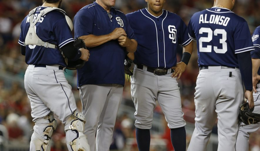 San Diego Padres manager Pat Murphy, second from left, stands on the mound after pulling starting pitcher James Shields, with San Diego Padres catcher Derek Norris, left, third baseman Yangervis Solarte, third from left, and first baseman Yonder Alonso during the sixth inning of a baseball game against the Washington Nationals, Tuesday, Aug. 25, 2015, at Nationals Park in Washington. The Nationals won 8-3. (AP Photo/Carolyn Kaster)