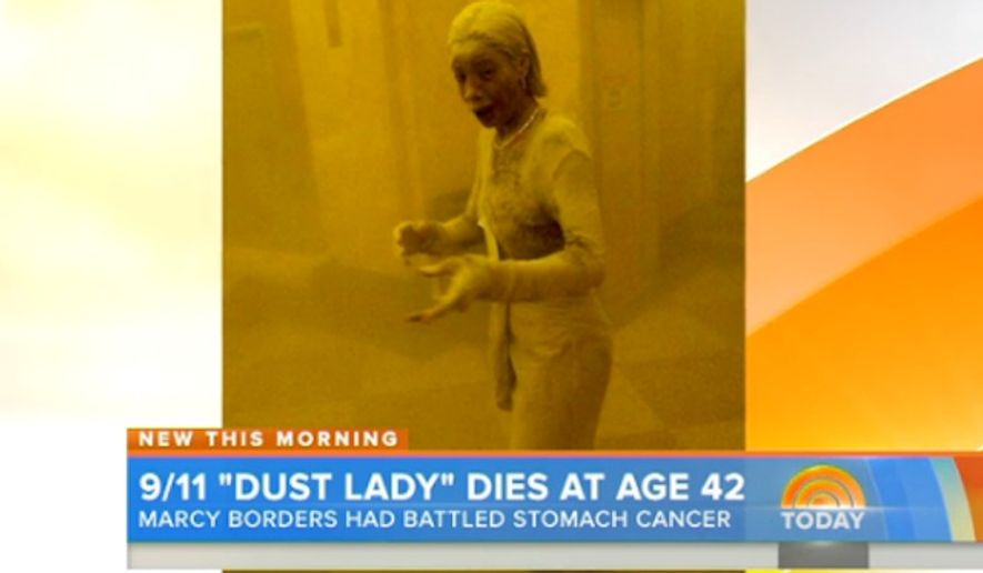 """Marcy Borders, who at 28 years old became known as """"Dust Lady"""" after a harrowing photograph was taken of her fleeing New York City's World Trade Center during the September 11 attacks, has died after a year-long battle with stomach cancer. (NBC Today)"""