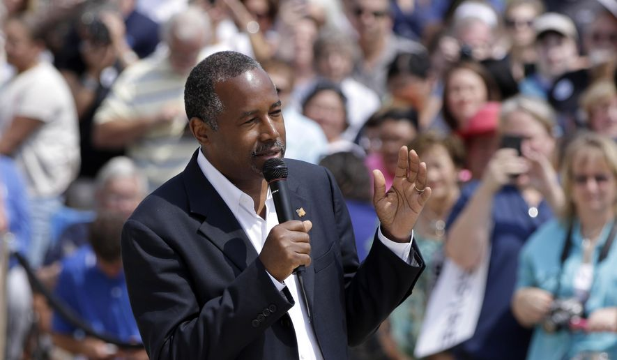 Republican presidential candidate Ben Carson speaks at a rally in Little Rock, Ark., Thursday, Aug. 27, 2015. (AP Photo/Danny Johnston) ** FILE **