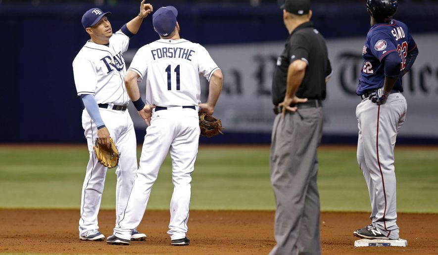 Tampa Bay Rays shortstop Asdrubal Cabrera, left, and teammate Logan Forsythe look up to see the ring of the dome at Tropicana Field that Minnesota Twins' Miguel Sano, right, hit with his RBI ground-rule double during the third inning of a baseball game Thursday, Aug. 27, 2015, in St. Petersburg, Fla. (AP Photo/Mike Carlson)
