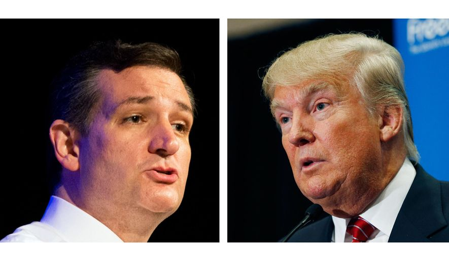 "FILE - This two picture combo of file photos shows Republican presidential candidate, Sen. Ted Cruz, R-Texas, left, and Donald Trump. Trump and Cruz are planning to appear together at an upcoming Capitol Hill rally against the proposed nuclear deal with Iran. Trump announced the event during an appearance Thursday in South Carolina, saying it would be ""in the next few weeks.""  (AP Photo/File)"