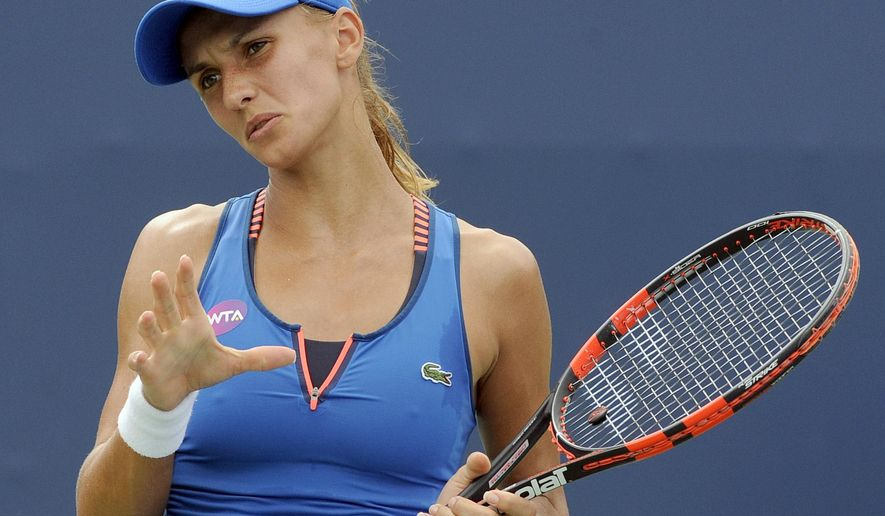 Lesia Tsurenko, of Ukraine, reacts during her 6-2, 6-2 victory over Karolina Pliskova, of the Czech Republic, during the quarterfinal round of the Connecticut Open tennis tournament in New Haven, Conn., Thursday, Aug. 27, 2015. (AP Photo/Fred Beckham)