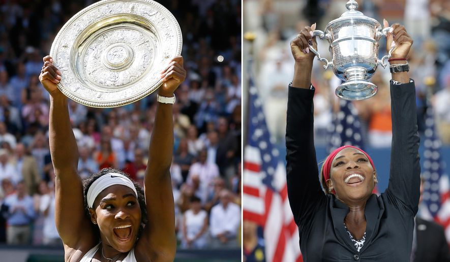 "ADVANCE FOR WEEKEND EDITIONS, AUG. 29-30 - FILE -  At left, in a July 11, 2015, file photo, Serena Williams reacts as she holds the trophy after winning the women's singles final against Garbine Muguruza of Spain, at the All England Lawn Tennis Championships in Wimbledon, London, At right, in a Sept. 7, 2014, file photo, Serena Williams holds up the championship trophy after defeating Caroline Wozniacki, of Denmark, during the final of the 2014 U.S. Open tennis tournament in New York. To Serena Williams, winning all four of tennis' most prestigious tournaments in the same season become ""a distant dream, fable, kind of thing"" _ and yet here she is, entering the U.S. Open on the brink of tennis' first Grand Slam in 27 years. (AP Photo/File)"