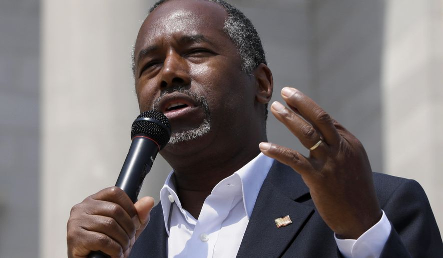 Republican presidential candidate Ben Carson speaks at a rally in Little Rock, Ark., Thursday, Aug. 27, 2015. (AP Photo/Danny Johnston)