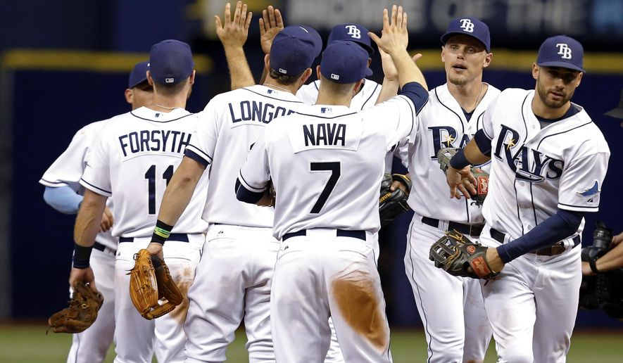 Members of the Tampa Bay Rays, from left, Logan Forsythe, Evan Longoria, Daniel Nava, Brandon Guyer and Kevin Kiermaier celebrate a 5-4 win over the Minnesota Twins in a baseball game Thursday, Aug. 27, 2015, in St. Petersburg, Fla. (AP Photo/Mike Carlson)