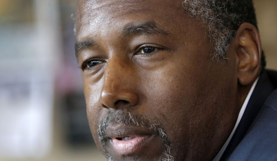 Republican presidential candidate Ben Carson is interviewed in Little Rock, Ark., on Aug. 27, 2015. (Associated Press) **FILE**