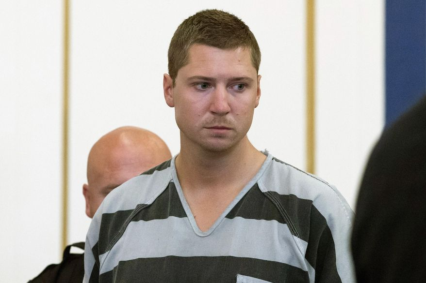 FILE - In this July 30, 2015 file photo, former University of Cincinnati police officer Ray Tensing appears at Hamilton County Courthouse for his arraignment in the in the  July 19 shooting death of motorist Samuel DuBose in Cincinnati. An attorney for Tensing filed a request Wednesday, Aug. 26, 2015, asking the court to move the trial elsewhere. Tensing pleaded not guilty to charges of murder and involuntary manslaughter. His trial is scheduled for Nov. 16. (AP Photo/John Minchillo, File)