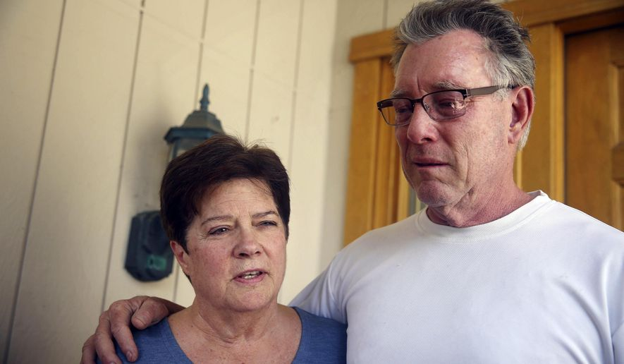 FILE - In this Thursday, July 2, 2015 file photo, Liz Sullivan, left, and Jim Steinle, right, parents of Kathryn Steinle, talk to members of the media outside their home in Pleasanton, Calif. Prosecutors have charged Mexican immigrant Francisco Sanchez with murder in the waterfront shooting death of Steinle. Competing versions of the same event emerged Wednesday, Aug. 26, 2015, during the second day of the preliminary hearing held to determine if there's enough evidence for Lopez-Sanchez to stand trial on murder charges.  (Lea Suzuki/San Francisco Chronicle via AP, File)