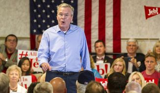 Republican presidential candidate, former Florida Gov. Jeb Bush, speaks at the Pensacola Bay Center in Pensacola, Fla., on Wednesday, Aug. 26, 2015. (AP Photo/Mark Wallheiser)
