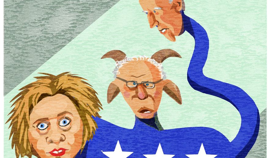 Illustration on the current state of the Democrat party's presidential hopefuls by Alexander Hunter/The Washington Times