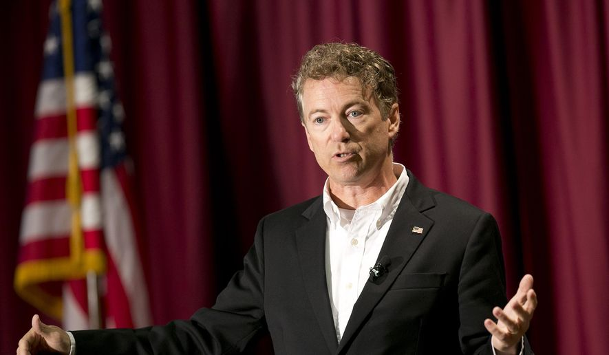 "Republican presidential candidate Sen. Rand Paul (R-Ky.) speaks to a large crowd inside of the Bishop Barnwell Room during a ""Stand with Rand"" rally on the campus of Boise State University in Boise, Idaho, Thursday, Aug. 27, 2015. (Kyle Green/Idaho Statesman via AP) ** FILE **"