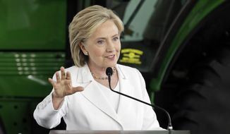 Democratic presidential candidate Hillary Rodham Clinton speaks in Ankeny, Iowa, on Aug. 26, 2015. (Associated Press) **FILE**