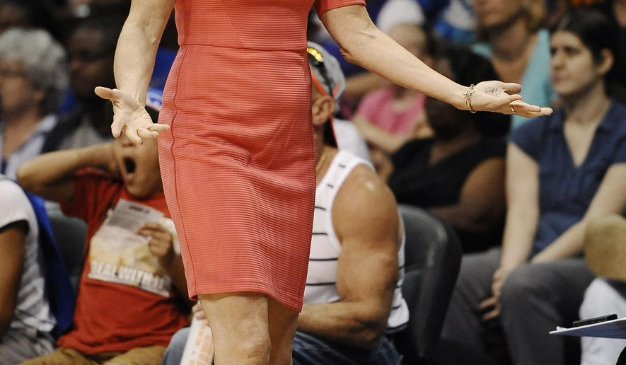 Phoenix Mercury coach Sandy Brondello reacts during the first half of a WNBA basketball game against the Connecticut Sun, Thursday, Aug. 27, 2015, in Uncasville, Conn. (AP Photo/Jessica Hill)