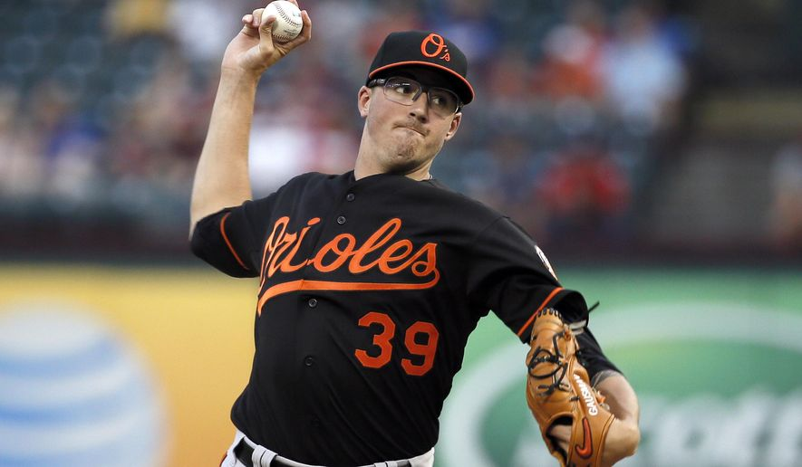 Baltimore Orioles starting pitcher Kevin Gausman works against the Texas Rangers in the first inning of a baseball game Friday, Aug. 28, 2015, in Arlington, Texas. (AP Photo/Tony Gutierrez)