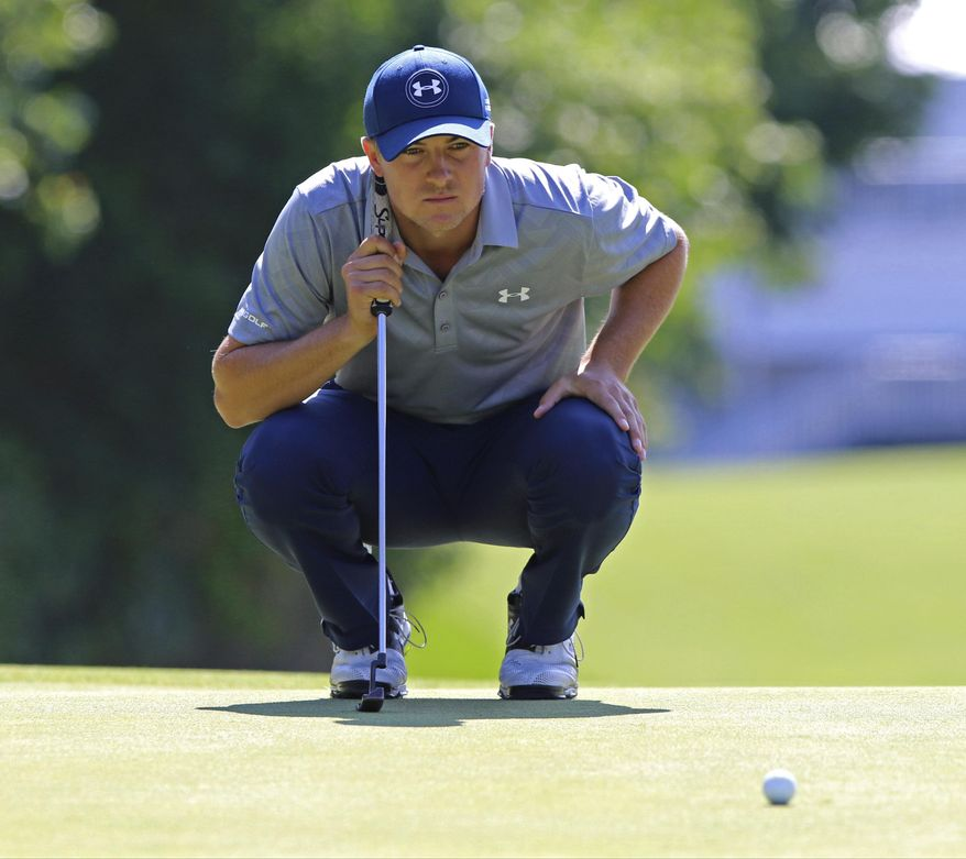 Jordan Spieth lines up a putt during the first round of The Barclays golf tournament, Thursday, Aug. 27, 2015, in Edison, N.J. (Chris Pedota/Northjersey.com via AP)