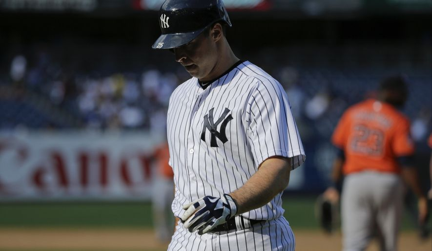 New York Yankees' Mark Teixeira reacts after a baseball game against the Houston Astros, Wednesday, Aug. 26, 2015, in New York. The Astros won 6-2. (AP Photo/Frank Franklin II)